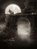 Dark ruins. Night scenery with gothic ruins and a skeleton Stock Photos