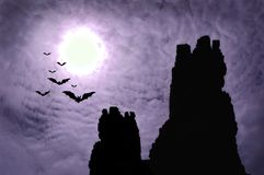 Dark ruins and bats Royalty Free Stock Photo