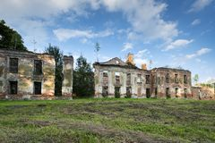 Dark ruins of old baroque palace in Gladysze, Poland Stock Photo