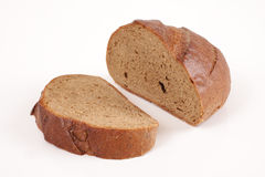 Dark rye bread isolated on white background Stock Photo