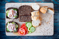 Dark rye bread spiced with caraway seeds Stock Images