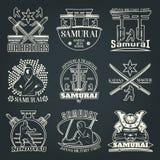 Dark Samurai Emblems. Martial arts emblems on dark background with kimono and torii symbols katana and ninjitsu flat vector illustration Royalty Free Stock Image