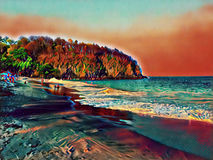Dark sand beach and seaside with distant mountain. Digital illustration of tropical nature Royalty Free Stock Photo