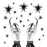 Festive Holiday background in vintage victorian retro style with women`s witch hands and stars. Witch background with stars, witch hands with long nails. magic royalty free illustration