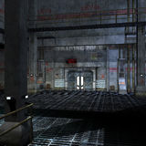 Dark and scary place in a scifi setting. 3D rendering with clipping path and shadow over white Stock Photography