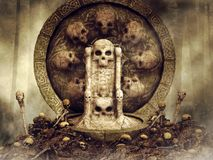 Skull throne in the forest. Dark scene with a throne made of bone surrounded by skulls vector illustration