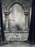 Gothic arch with black curtains Royalty Free Stock Photography