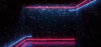 Dark Sci Fi Modern Futuristic Empty Grunge Brick Wall Room Purple Blue Pink glowing Lights Concrete Floor Neon Horizontal Line. Light Shapes Empty Space. 3D stock illustration
