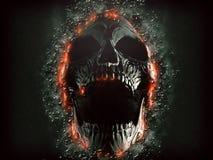 Dark screaming skull emerging from the rock wall vector illustration