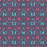 Dark seamless background with butterflies and oblique thin lines. Royalty Free Stock Images