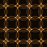 Dark seamless background with golden circles. Dark circles with glowing outline light around. shinning neon laser rings in regular order forming to rows and Stock Photo