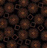Dark seamless background with orange star patterns Royalty Free Stock Photo