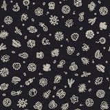 Dark Seamless Pattern with Bacteria and Germs Royalty Free Stock Image