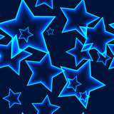 Dark seamless pattern with blue neon outline stars Stock Photos