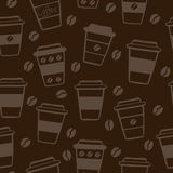 Dark seamless pattern with coffee cups Royalty Free Stock Images