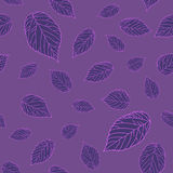 Dark seamless pattern with dark violet raspberry leaves on a violet background. Royalty Free Stock Photo