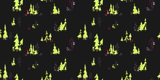 Dark Seamless pattern. Fairy forest with owls and monsters. On t. Seamless pattern. Fairy forest with owls and monsters. On the illustration there are pine trees Royalty Free Stock Images