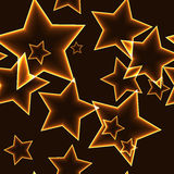 Dark seamless pattern with gold neon outline stars Royalty Free Stock Photos