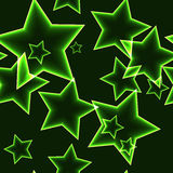 Dark seamless pattern with green neon outline stars Royalty Free Stock Photos