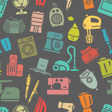 Dark seamless pattern of home appliances Stock Images