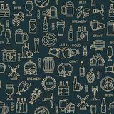 Dark seamless pattern kraft beer icons in modern style on the theme of beer. royalty free illustration