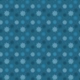 Dark seamless pattern of many light snowflakes on blue backgroun Stock Photos