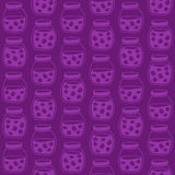 Dark seamless pattern with the plum jam jars. Royalty Free Stock Images