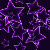 Dark seamless pattern with purple neon outline stars. Dark seamless pattern with purple / violet / lilac neon laser outline stars on black background Stock Images