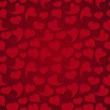 Dark seamless pattern. Red hearts with shadow on a Stock Photography