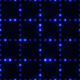 Dark seamless pattern with shinning blue neon dot grid. Glowing and sparkling network made from small circles in lines stock illustration