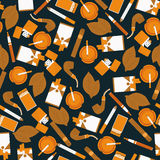 Dark seamless pattern of smoking accessories Stock Images