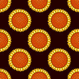 Dark seamless pattern with sunflowers Royalty Free Stock Photos