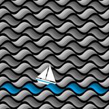 Dark seamless pattern of waves with paper yacht. Vector background Royalty Free Stock Photo