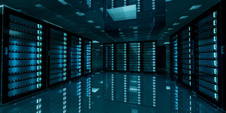 Dark server room data center storage 3D rendering. Dark server room data center storage with blue lights 3D rendering Royalty Free Stock Images