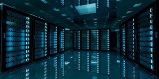 Dark server room data center storage 3D rendering. Dark server room data center storage with blue lights 3D rendering stock illustration