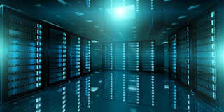Dark server room data center storage 3D rendering Royalty Free Stock Image