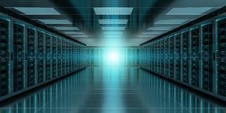 Server room data center interior 3D rendering. Dark server room data center storage interior 3D rendering Stock Images