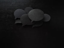 Dark set  speech and thought blobs, lot of clouds Royalty Free Stock Photos