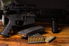 AR rifle 5.56 ammunition Royalty Free Stock Photo