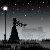Dark shadow of woman on night scene vector Royalty Free Stock Photos
