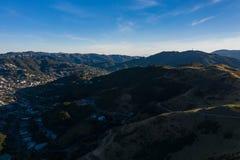 Dark Shadows After Sunset in Wellington Suburban Neighborhood Karori stock photography
