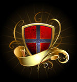 Dark Shield with Golden Ribbon Stock Images