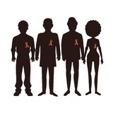 Dark shilouettes with aids ribbon Royalty Free Stock Photo