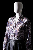 Dark shirt with floral pattern. stock image
