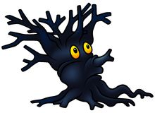Dark Shrub. Detailed cartoon illustration as vector Stock Photos