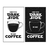 Dark side of coffee print. Chalkboard vintage Stock Images
