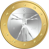 Euro coin. Euro crisis and default: the Dark Side. One coin of euro with a skeleton in place of original symbol: Vitruviano man of Leonardo da Vinci. Concepts stock illustration