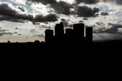 Dark silhouette skyscrapers Stock Images