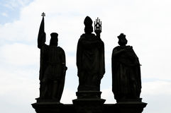Dark Silhouette Statues of Saints Norbert of Xanten, Wenceslas & Sigismund - Prague Stock Images