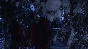 Dark silhouettes of man and woman moving in snowy winter forest at silent night. stock video footage